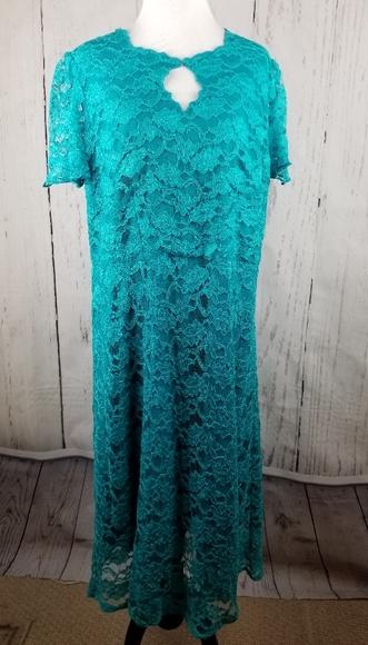Roaman's Dresses & Skirts - Roamans Blue Lace Evening Dress Plus Size 14W
